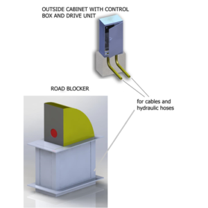 bk mobileblock road blocker with cabinet control box and drive unit